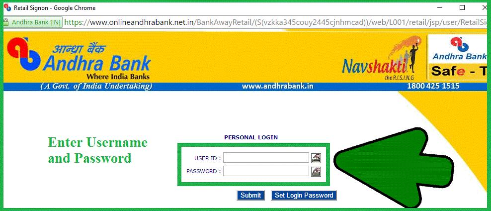 Andhra Bank Online Login