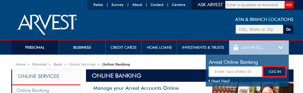 Arvest Bank Online Login