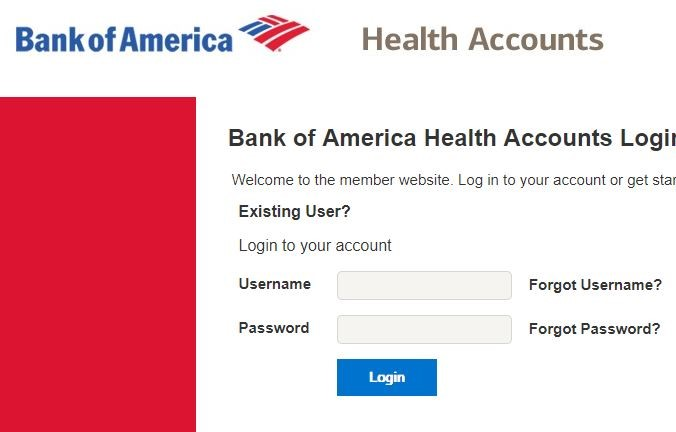 Bank of America HSA Login Page