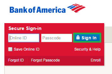 Bank of America Online Login via PC