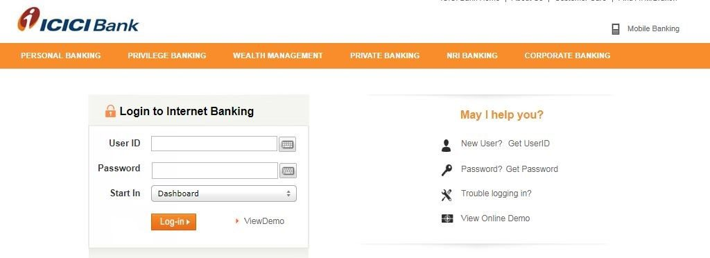 ICICI Internet Banking Login and Reset