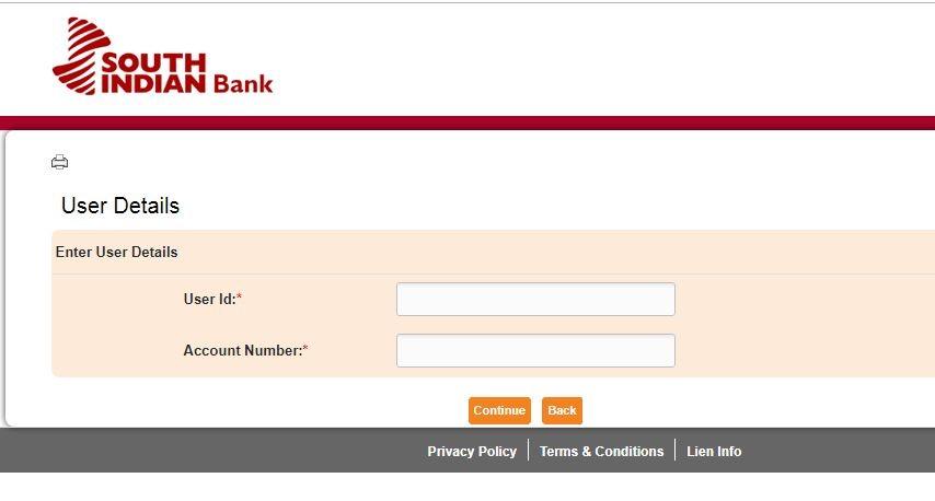 South Indian Bank Internet Banking Reset Password