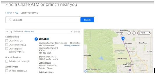 how to find nearest Chase Bank locations