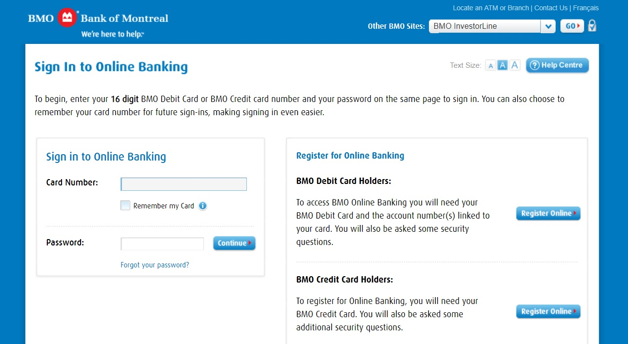 Bank of Montreal login and Reset