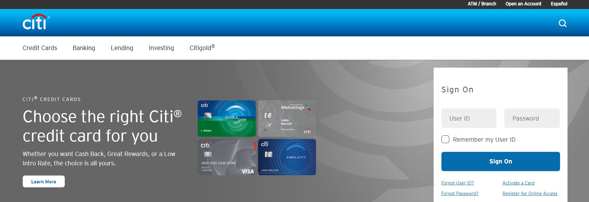 Login page of Citi Bank