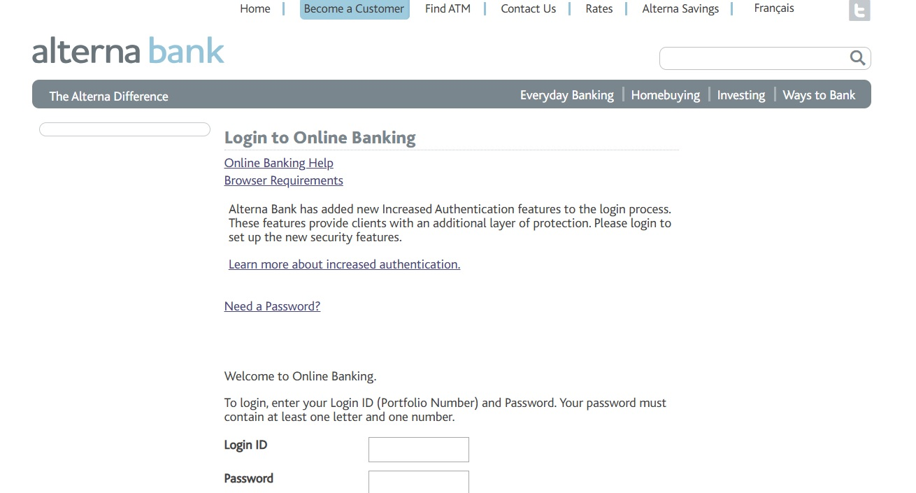 Alterna Bank Online Banking Login