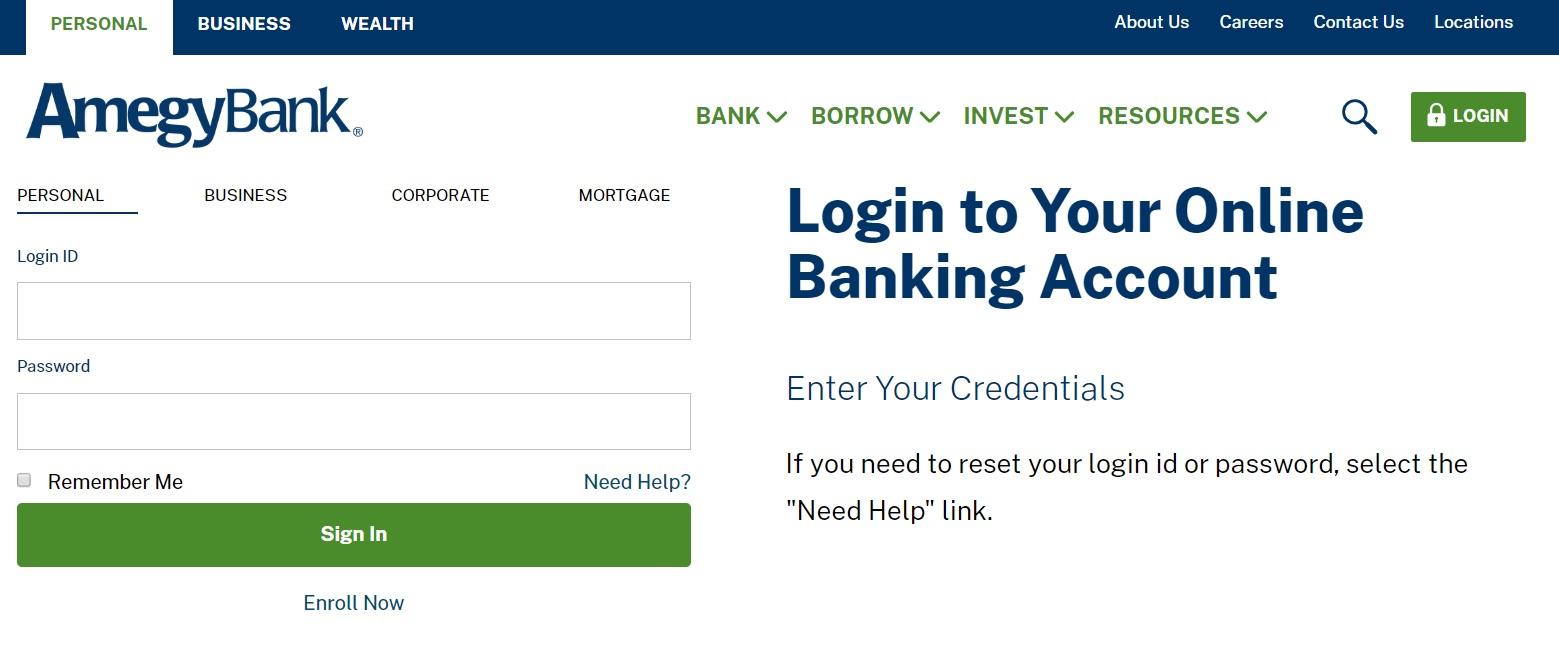 Amegy Bank Login and Reset Password