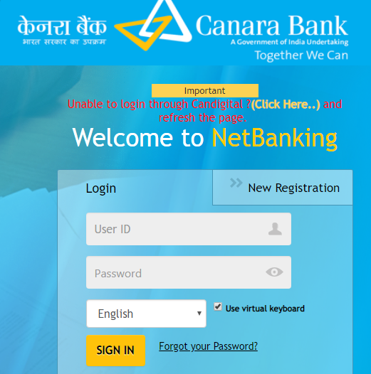 Canara Bank Net Banking Login