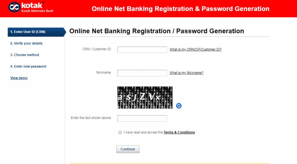 Kotak Mahindra Bank Reset Steps