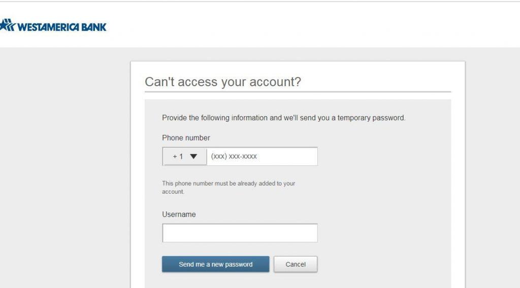 Westamerica Bank Online Reset password