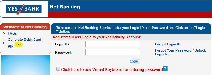 Yes Bank Credit Card Login