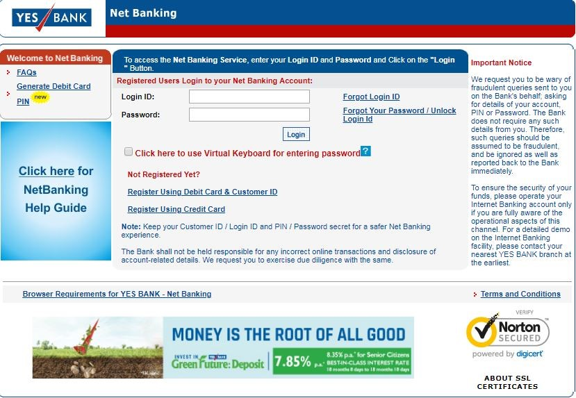 Yes Bank Online Banking Login and Reset