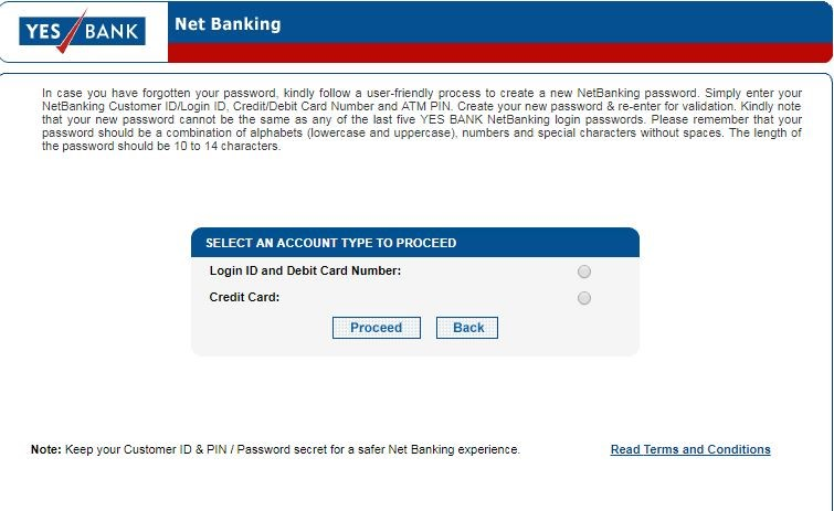 Yes Bank Online Banking Reset
