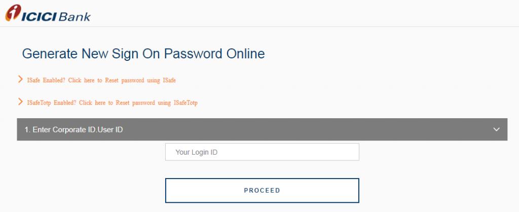ICICI Corporate Login and Reset Password