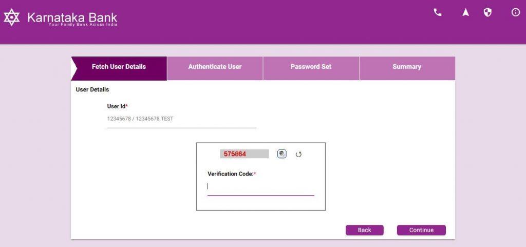 Karnataka Bank Online Banking Reset Password