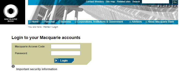 Macquarie Bank Online Banking Login