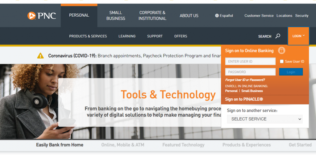 PNC Online Banking Login Sign in Page