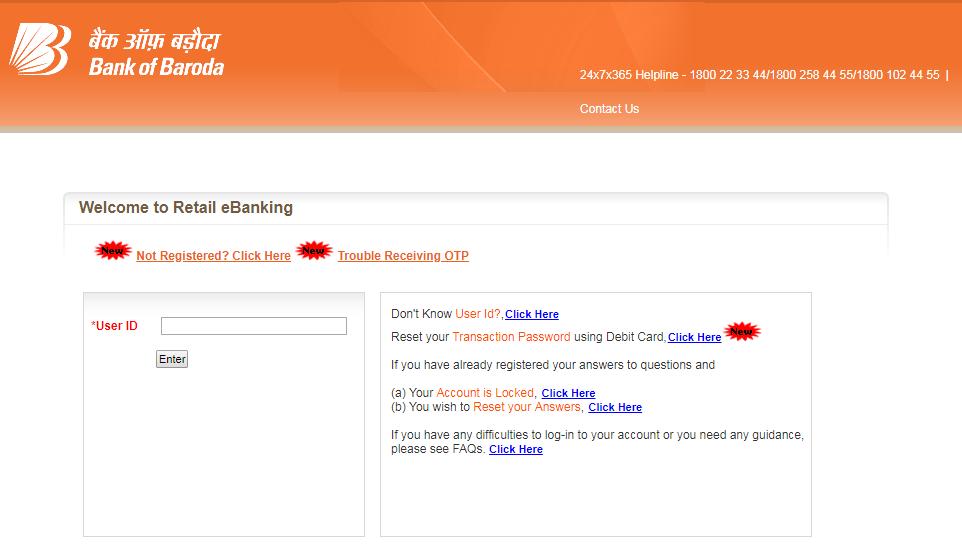 Reset Bank of Baroda Password