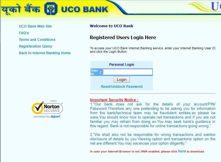 UCO Bank Online Login Reset Password